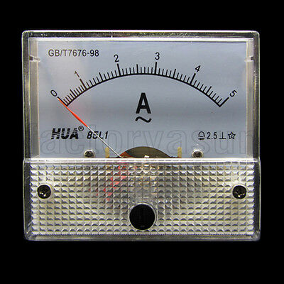 AC 5A Analog Panel AMP Current Meter Ammeter Gauge 85L1 0-5A AC White