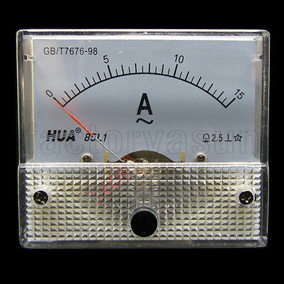 AC 15A Analog Panel AMP Current Meter Ammeter Gauge 85L1 0-15A AC White