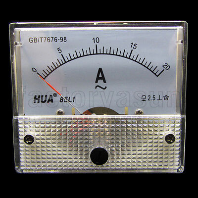 AC 20A Analog Panel AMP Current Meter Ammeter Gauge 85L1 0-20A AC White