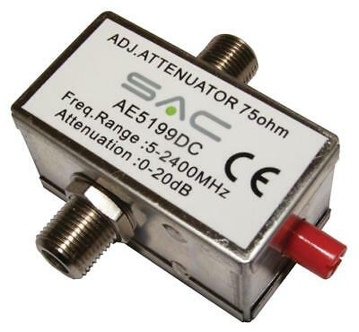 Variable Attenuator F-Type 0-20dB 5-2400MHz DC Pass Metal Housing
