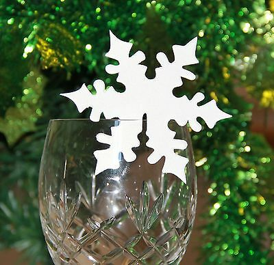 10 Snowflake Glass Decorations for Festive Christmas Table Name Place Cards Xmas