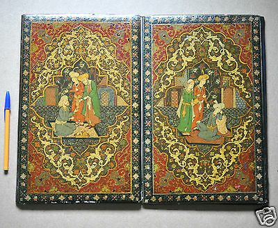 Antique Islamic Persian Qajar Papier Mache Lacquer Koran Binding Book Cover 19C