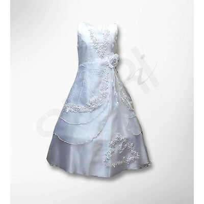 White Full Length Flower Girl's Dress  Wedding Party Prom Communion Dresses