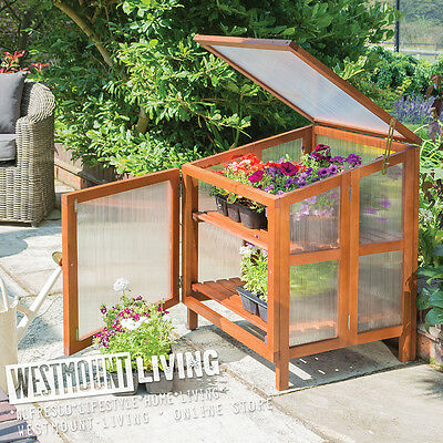 New Garden Wooden Cold Frame Polycarbonate Mini Greenhouse Grow House
