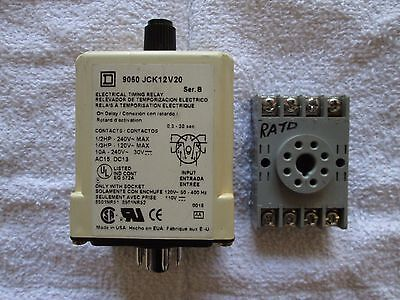 Square D 9050 JCK-12 On Delay Timing Relay With Base 120 VAC  0.3 to 30 Seconds