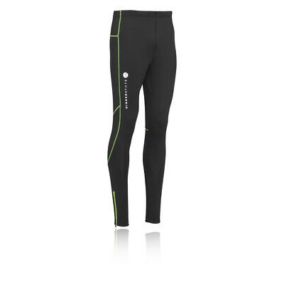 Higherstate Mens Yellow Black Long Fitted Running Training Sports Tights Bottoms