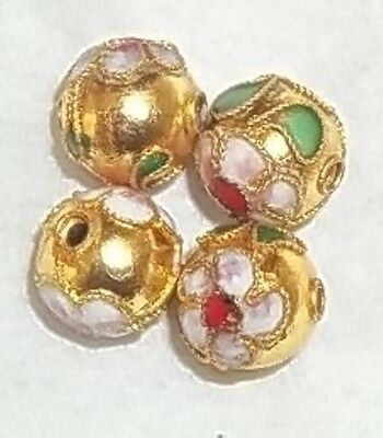 4 Perles Cloisonnees 9 Mm Rondes - Dore - Neuf - Prc10