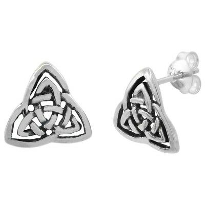 .925 Sterling Silver Triquetra Celtic Trinity Knot Stud Earrings, 1/2 inch