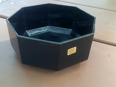 8 ARCOROC France Octime Black Glass Octagonal Mid-Size Bowls Cereal Soup Serving