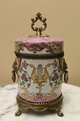 """Dominic Hand painted 9"""" Porcelain Jar with Lid"""