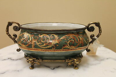 "10"" Dominic Hand painted Porcelain Bowl with Bronze"
