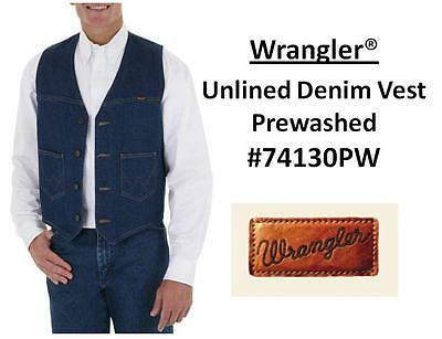 NWT MENS Wrangler® Unlined Denim Vest Prewashed(#74130PW) All Sizes(S~2XL)