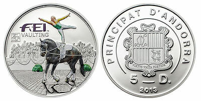 FEI VAULTING Andorra 5 Diners Silver Proof Coin, 2013, Mint, Vaulting