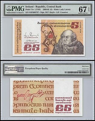 Ireland 5 Pounds, 1988-93, P-71e, UNC, Lady Lavery, PMG 67 EPQ