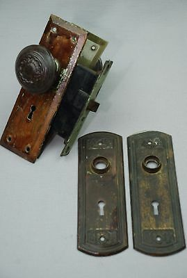 Antique Victorian Brass Bronze Hardware Doorknob Lock & Plates
