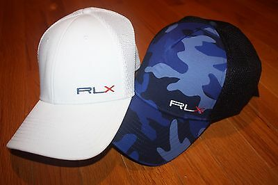 NWT RLX Polo Ralph Lauren Mesh-Panel White or Blue Camouflage Hat SHIP FAST