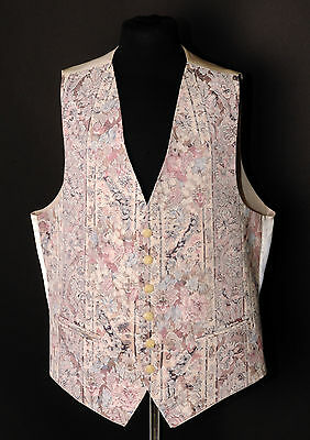 W - 1067.mens/boys Baby Pink And Cream Paisley Waistcoat / Dress/ Suit / Formal
