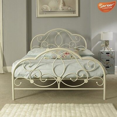 Alexis Florence Design Metal Bed Frame In White - 4ft, 4'6ft - Mattress Options