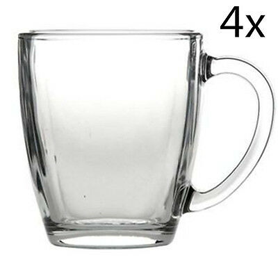 Set of 4 Clear Glass Coffee Tea Mug With Handle 230ml 9.5cmH