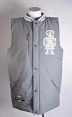 2014 NWT MENS SAGA PUFFY VEST $140 XXL grey hooded full zip snap closure logo