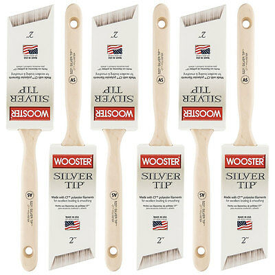 Bulk Lot Box (6) Wooster Silver Tip 5221 2-Inch Angled Sash Paint Brush