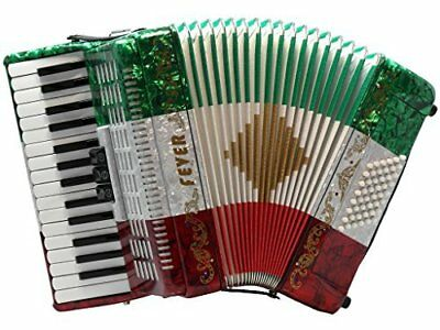 Fever Piano Accordion 3 Switches 30 Keys 48 Bass, Red, White, Green
