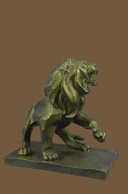 Abstract Modern Handcrafted Bronze Metal Roaring LION Sculpture Statue Figurine