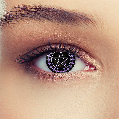Black colored pentagram contacts for Halloween: Ciel
