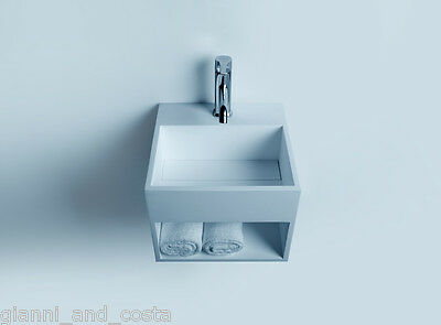 Bathroom 330Mm Wall Hung Basin Vanity - Stone - Solid Surface