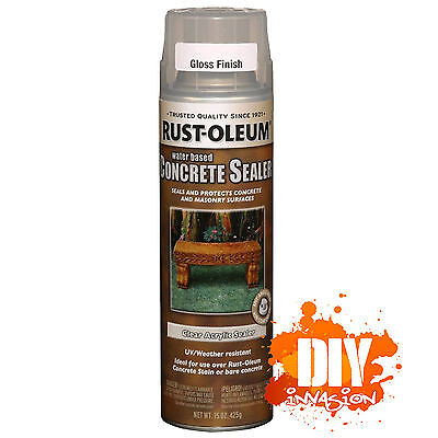Rust-Oleum Concrete Stain Sealer GLOSS CLEAR Spray Paint Stone Masonry Pots