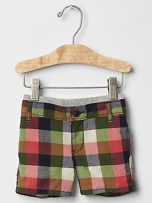 GAP Baby Boy Size 0-3 Months NWT Red / Blue / Green Plaid Madras Pull-On Shorts