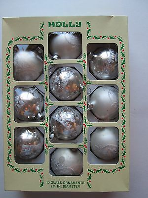 Vintage 1970s Christmas Ornaments, Lot of 10 in origHollybox, Glass Balls, 2.25""