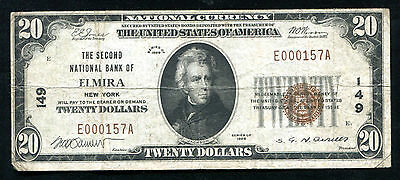 1929 $20 The Second National Bank Of Elmira, Ny National Currency Ch. #149