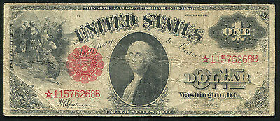 "Fr. 39* 1917 $1 One Dollar *star* Large Size ""sawhorse Back"" Legal Tender Note"