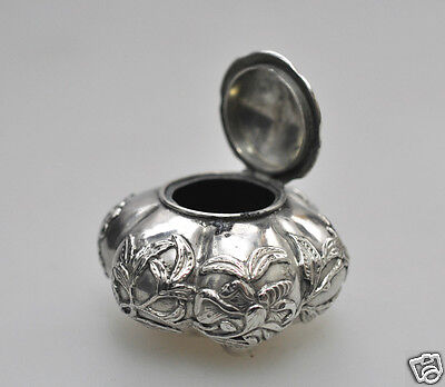 Antique Chinese Export Solid Silver China Qing Lidded Inkwell 1850
