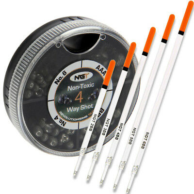 Match Fishing Tackle Set 5 X Unloaded Floats & 4 Way Non Toxic Lead Weight Shots