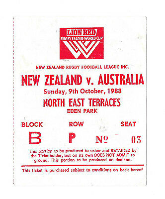 1988  - New Zealand v Australia, World Cup Final Match Ticket.