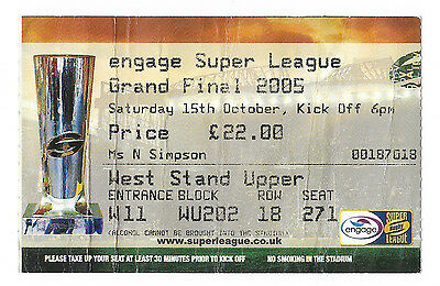 2005 - Bradford Bulls v Leeds Rhinos, Grand Final Match Ticket.