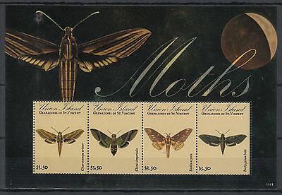 Union Island Grenadines St Vincent 2011 MNH Moths 4v M/S Insects Butterflies