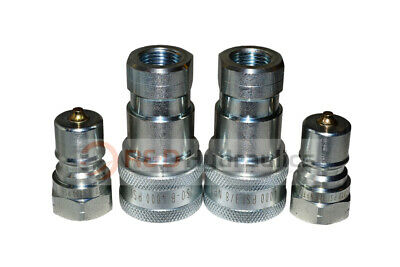 "2 Sets of 3/8"" ISO 7241-B Hydraulic Quick Disconnect Couplers"