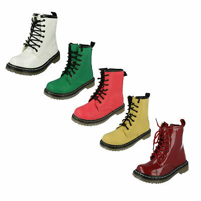 Sale Girls Spot On Doc Style Casual Lace Up Zip Winter Ankle Boots H5011 H3014