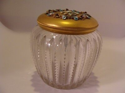 Antique FRENCH CUT GLASS POWDER BOX Lid Gold Filled w Stones 1850-1899