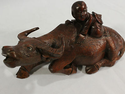 Rare Antique Classic Chinese Boy Riding Oxen Hand Carved Solid Wooden Art Figure