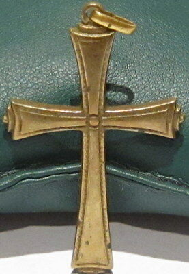 OUTSTANDING VINTAGE BRASS CROSS,ENGRAVING,EARLY 20th. Century !!! # 41A