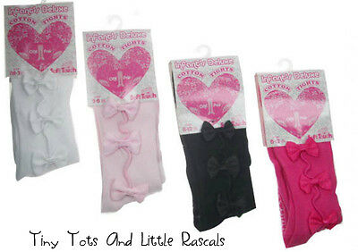 Baby Girls Infant Cotton Rich Tights Mary Jane Style Bows Size newborn -12 mths