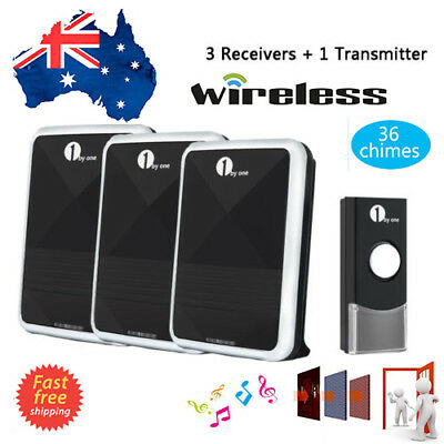 Remote Control 36 Chimes Battery Wireless Doorbell Door Bell Sync 3 Receivers