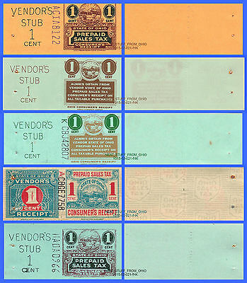 OHIO PREPAID SALES TAX STAMPS, FIVE 1¢ VARIATIONS, 5-STAMP GRAB BAG! Circa 1962