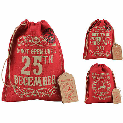 Red Vintage Jute Hessian Xmas Christmas Present Stocking Gift Sack Bag