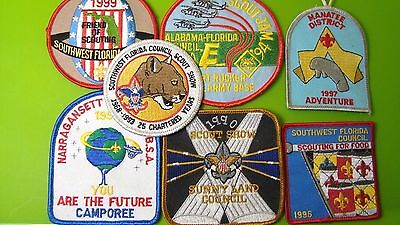 Vintage 90's Florida BSA Boy Scouts of America Patches 7 Total Unused