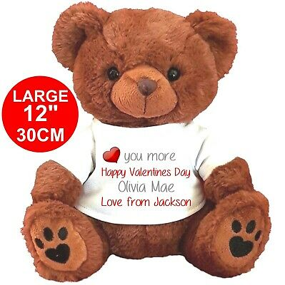 """Personalised Brown Teddy Bear 25Cm/10"""" Sitting Valentines Day Anniversary"""